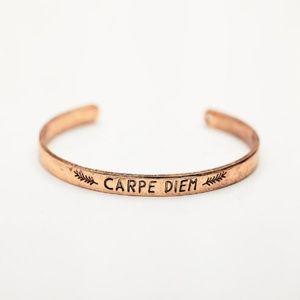 Carpe Diem Seize the day Gold Boho bangle Bracelet